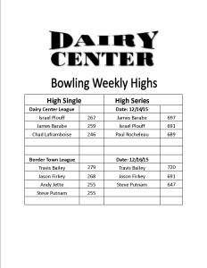 Bowling scores 12-14 and 12-16
