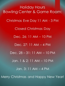 Holiday Bowling Center Hours 2015