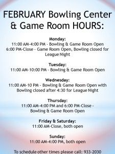 February Bowling Hours
