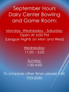 September Bowling Hours